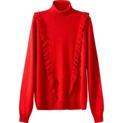 Sweter z golfem, z falbankami. Szare golfy damskie marki La Redoute Collections, m, z bawełny, z kapturem. Za 110,84 zł.