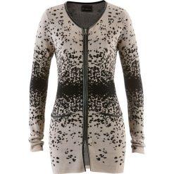 Długi sweter rozpinany z dzianiny żakardowej bonprix kamienisto-czarny wzorzysty. Szare kardigany damskie marki Mohito, l. Za 99,99 zł.