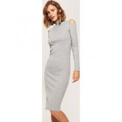 Dzianinowa sukienka z golfem - Jasny szar. Szare sukienki dzianinowe marki House, l, z golfem. Za 69,99 zł.