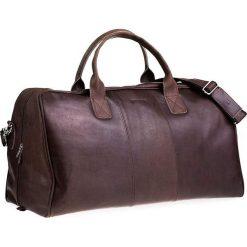 Torby podróżne: Casual skórzana torba podróżna na ramię ciemny brąz
