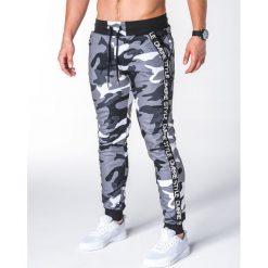 SPODNIE MĘSKIE DRESOWE P653 - SZARE/MORO. Szare spodnie dresowe męskie Ombre Clothing, moro, z bawełny. Za 55,00 zł.