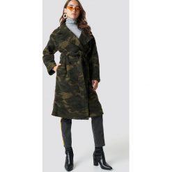 NA-KD Trend Płaszcz moro - Green,Multicolor. Zielone płaszcze damskie wełniane NA-KD Trend, moro. Za 647,95 zł.