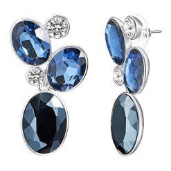 Kolczyki damskie: Kolczyki-wkrętki w kolorze niebieskim z kryształkami