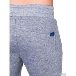SPODNIE MĘSKIE DRESOWE P423 - SZARE. Czarne joggery męskie marki Ombre Clothing, m, z bawełny, z kapturem. Za 29,00 zł.