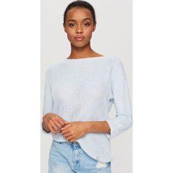 Swetry klasyczne damskie: Sweter z miękkiej dzianiny – Niebieski