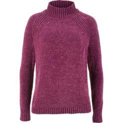Swetry klasyczne damskie: Sweter z szenili bonprix jeżynowy