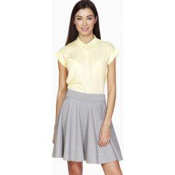 Spódniczki: Cytrynowa Koszula z Krytym Zapięciem z Krótkim Rękawem