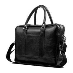 Elegancka Męska torba ze skóry na ramię RUSSEL czarny. Czarne torby na ramię męskie marki Solier, w paski, ze skóry. Za 499,00 zł.