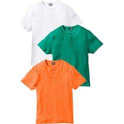 T-shirt (3 szt.) bonprix pomarańczowy + zielony miętowy + biały. Białe t-shirty męskie bonprix, m. Za 98,97 zł.