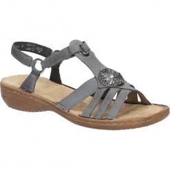 Sandały z ozdobami Rieker 60869. Czarne sandały damskie marki Rieker, z materiału. Za 218,99 zł.