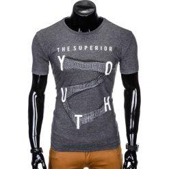 T-SHIRT MĘSKI Z NADRUKIEM S964 - GRAFITOWY. Szare t-shirty męskie z nadrukiem marki Ombre Clothing, m, z bawełny. Za 19,99 zł.