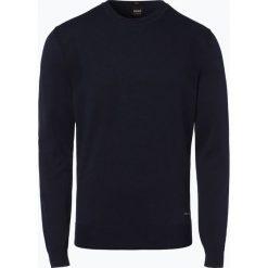 BOSS Casual - Sweter męski z dodatkiem kaszmiru – Kosawiros, niebieski. Niebieskie swetry klasyczne męskie BOSS Casual, l, z kaszmiru, z kontrastowym kołnierzykiem. Za 499,95 zł.