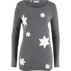 Sweter bonprix szary melanż. Szare swetry klasyczne damskie bonprix. Za 74,99 zł.