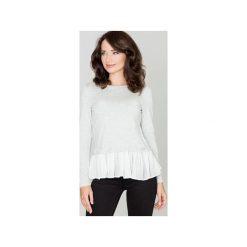 Bluzka K269 Jasny Szary. Białe bluzki longsleeves marki Born2be, s, w kwiaty, z koronki, z dekoltem na plecach. Za 89,00 zł.
