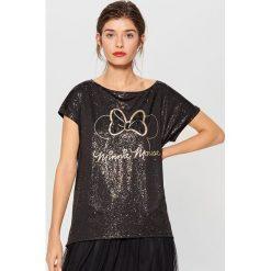Błyszcząca koszulka Mickey Mouse Special Collection - Czarny. Brązowe t-shirty damskie marki Mohito, m. Za 69,99 zł.