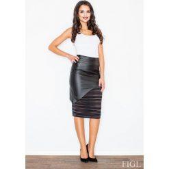Spódniczki: Czarna Modna Midi Ołówkowa Spódnica z Eko-skórą