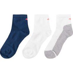 Skarpetki (3 pary) dla dużych dziewcząt JSOD400 - granatowy+biały+biały. Białe buty sportowe dziewczęce marki 4F JUNIOR, z bawełny. Za 14,99 zł.