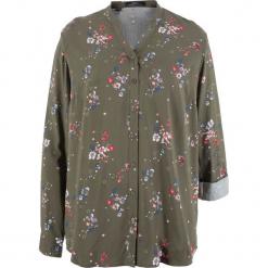 Bluzka z wiskozy, długi rękaw bonprix ciemnooliwkowy z nadrukiem. Zielone bluzki longsleeves bonprix, z nadrukiem, z wiskozy. Za 69,99 zł.