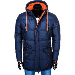 KURTKA MĘSKA ZIMOWA PIKOWANA C383 - GRANATOWA. Niebieskie kurtki męskie pikowane Ombre Clothing, na zimę, m, z poliesteru. Za 119,20 zł.