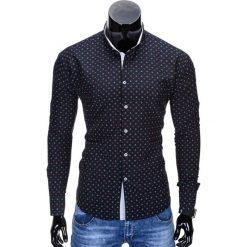 Koszule męskie na spinki: KOSZULA MĘSKA ELEGANCKA Z DŁUGIM RĘKAWEM K314 – CZARNA