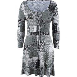 Tunika z rękawami 3/4 bonprix czarny wzorzysty. Czarne tuniki damskie marki DOMYOS, z bawełny, street. Za 89,99 zł.