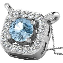 Łańcuszki damskie: Srebrny łańcuszek z diamentem i syntetycznym akwamarynem – dł. 43 cm