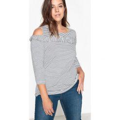 Bluzki asymetryczne: Bluzka z falbankami, odkryte ramiona