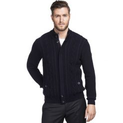 Sweter ZACCARIA SWGR000200. Niebieskie swetry rozpinane męskie marki Giacomo Conti, na jesień, m, z bawełny, z golfem. Za 349,00 zł.