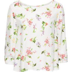 Bluzki damskie: Bluzka bonprix biel wełny w kwiaty