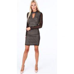 Sukienki: Sukienka wieczorowa w paski czarna G5093
