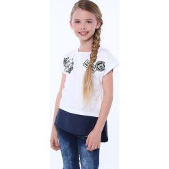 T-shirty dziewczęce: Koszulka dziewczęca z łączonych materiałów biała NDZ8212
