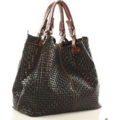 Kuferki damskie: Skórzana torebka shopper MAZZINI – LINDA czarna