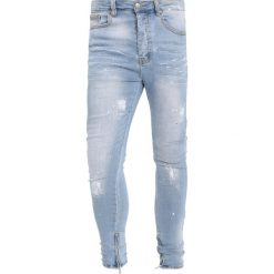 Jeansy męskie regular: Sixth June WITH WHITE PAINT + ZIP Jeans Skinny Fit blue