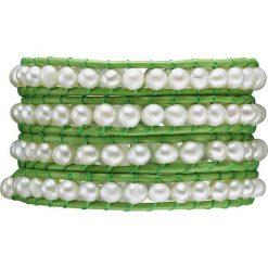 Bransoletki damskie: Skórzana bransoletka w kolorze zielono-białym z perłami słodkowodnymi