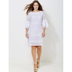 Długie sukienki: Krótka sukienka z angielskiego haftu, krótki rękaw