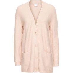 Sweter rozpinany oversize bonprix dymny różowy melanż. Niebieskie kardigany damskie marki bonprix, z nadrukiem. Za 89,99 zł.