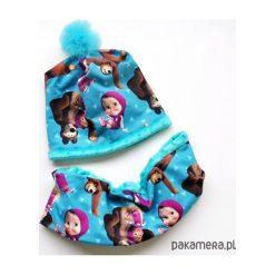 Komplet _ czapka i komin_MASZA i NIEDŹWIEDŹ. Niebieskie czapeczki niemowlęce marki Pakamera. Za 85,00 zł.