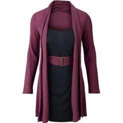 Sukienka dzianinowa z paskiem bonprix jeżynowo-czarny. Czarne sukienki balowe marki Reserved. Za 99,99 zł.
