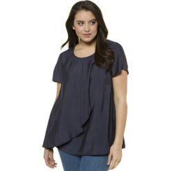 Bluzki asymetryczne: Bluzka z okrągłym dekoltem, prosta, jednokolorowa, z krótkim rękawem