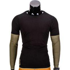 T-shirty męskie: LONGSLEEVE MĘSKI BEZ NADRUKU L65 – CZARNY/KHAKI