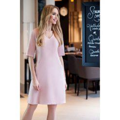 Sukienki: Sukienka trapezowa krótki rękaw s027