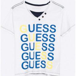 Guess Jeans - T-shirt dziecięcy 118-176 cm. Szare t-shirty chłopięce z nadrukiem marki Guess Jeans, l, z bawełny. W wyprzedaży za 69,90 zł.