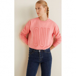 Mango - Bluza Oui. Różowe bluzy damskie Mango, l, z aplikacjami, z bawełny, bez kaptura. Za 89,90 zł.