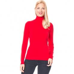 Golf w kolorze czerwonym. Czerwone golfy damskie marki William de Faye, z kaszmiru. W wyprzedaży za 113,95 zł.