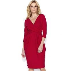 Wizytowa Czerwona Sukienka  Bombka z Kopertowym Dekoltem. Czerwone sukienki dzianinowe Molly.pl, na spotkanie biznesowe, l, wizytowe, z kopertowym dekoltem, midi, bombki. Za 109,90 zł.