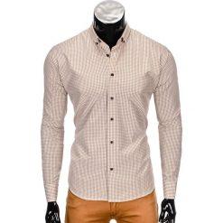 KOSZULA MĘSKA Z DŁUGIM RĘKAWEM K351 - BRĄZOWA. Brązowe koszule męskie na spinki Ombre Clothing, m, z bawełny, z długim rękawem. Za 29,00 zł.