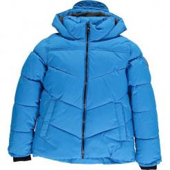 Kurtka zimowa w kolorze błękitnym. Niebieskie kurtki chłopięce zimowe marki CMP Kids, z polaru. W wyprzedaży za 175,95 zł.