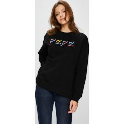 Pepe Jeans - Bluza Robin. Czarne bluzy rozpinane damskie Pepe Jeans, l, z nadrukiem, z bawełny, bez kaptura. W wyprzedaży za 229,90 zł.