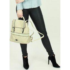 Shopper bag damskie: Stylowy plecak damski beżowy