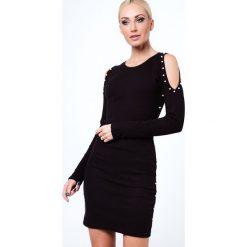 Sukienki: Sukienka z perełkami z prążkowanego materiału czarna 6647